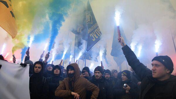 Акция националистов в Киеве за введение военного положения в стране и разрыв дипломатических отношений с Россией