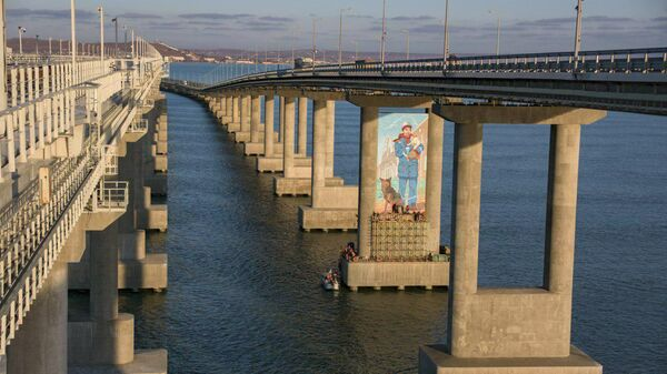 Рисунок рабочего-мостостроителя с котом на руках на опоре Крымского моста