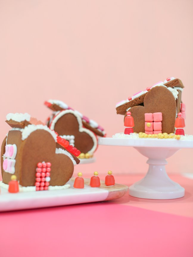 Make The Cutest Gingerbread House Village For Valentines Day