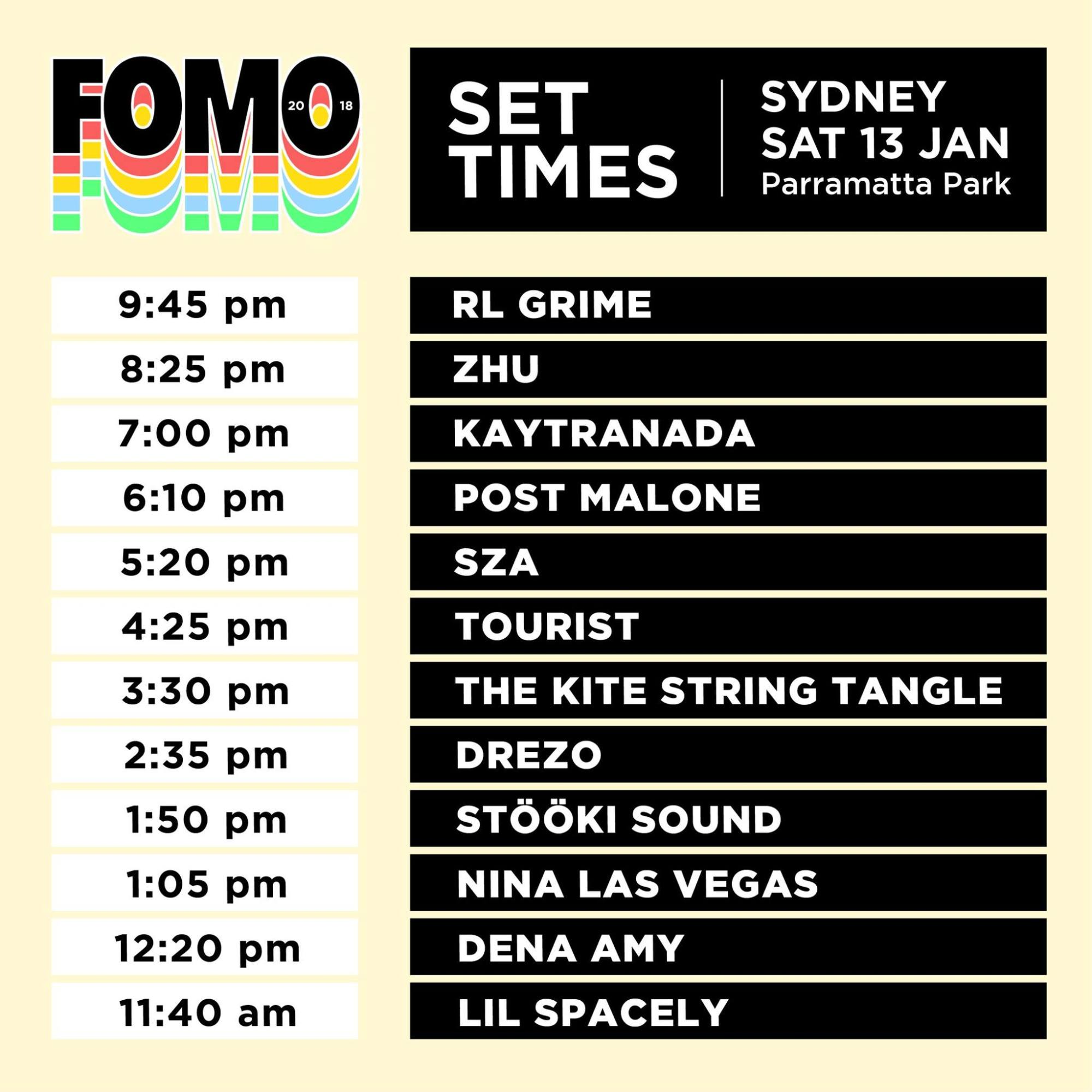 hight resolution of fomo 2018 set times