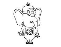 Disegno di Elefante Minion da Colorare - Acolore.com