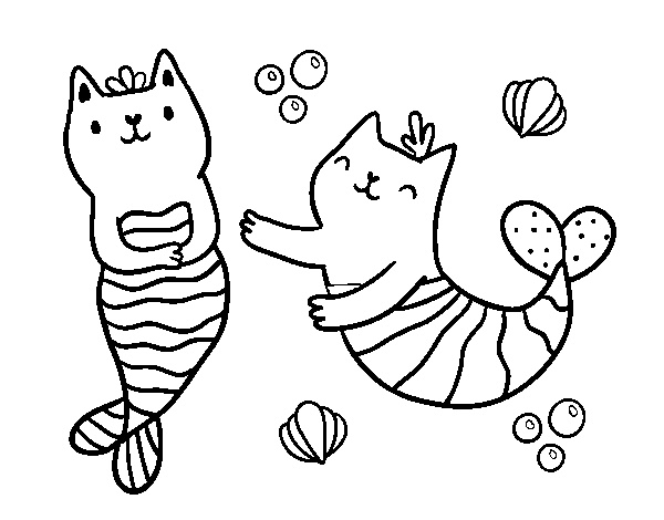 Disegno Di Gatti Sirena Da Colorare
