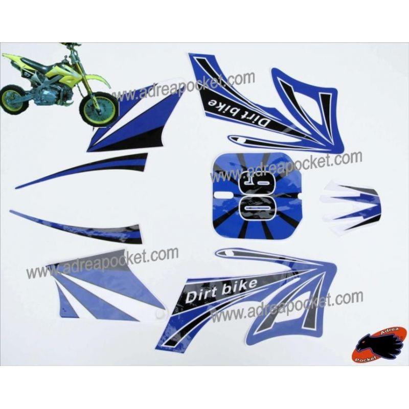 kit decoration bleu modele 1 dirt bike pit bike type agb27