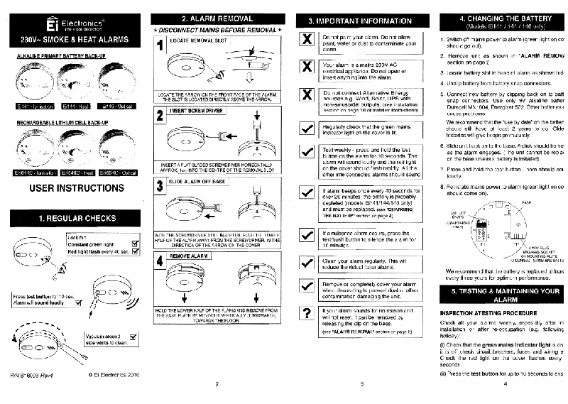 Ei Electronics Ei166RC Smoke Alarm User instructions PDF