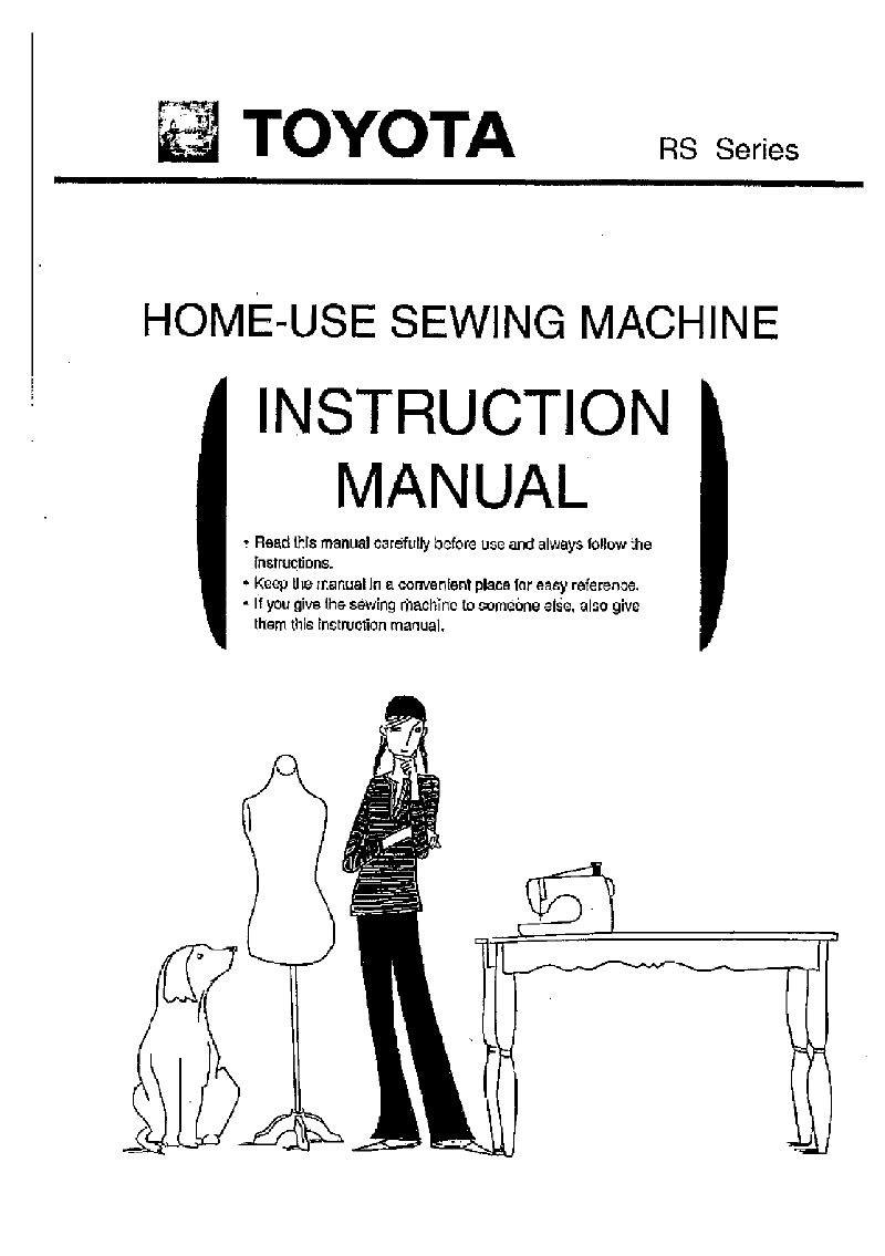 Toyota RS2000B Sewing Machine Instruction manual PDF View