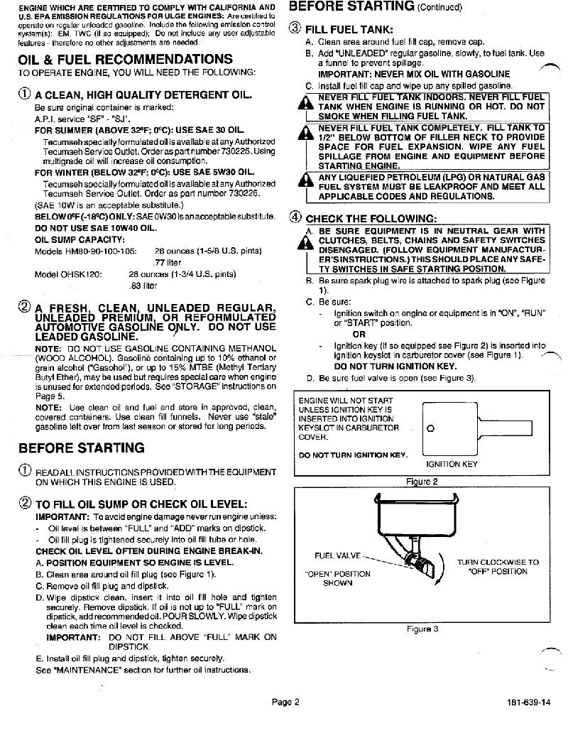 Tecumseh HMSK100 Snow Blower Operator's manual PDF View