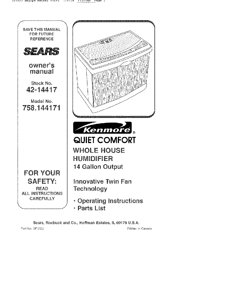 Kenmore 758.144171 Humidifier Owner's manual PDF View/Download