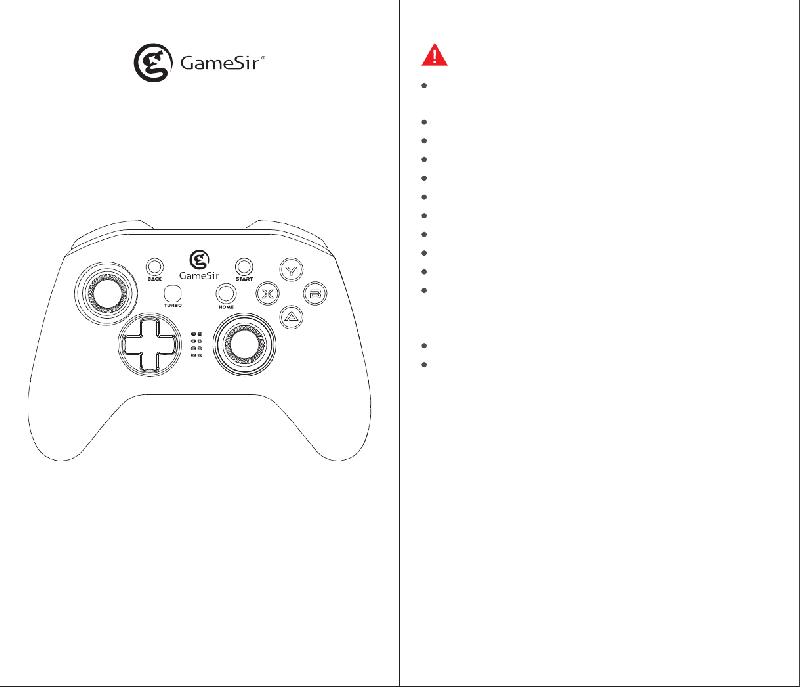 GameSir T4 Video Game Controller Operation & user's manual