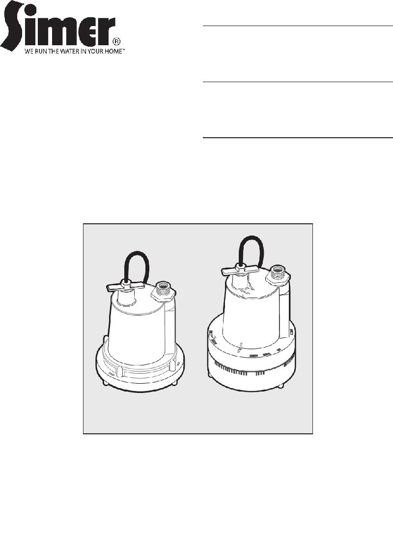 Simer 2300-04 Water Pump Owner's manual PDF View/Download