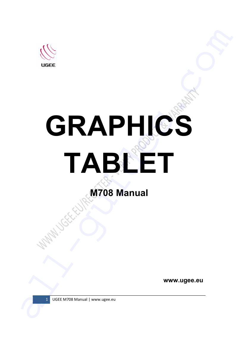 UGEE M708 Graphics Tablet Manual PDF View/Download