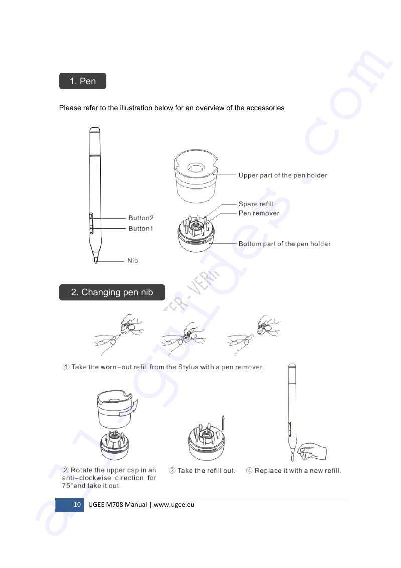 UGEE M708 Graphics Tablet Manual PDF View/Download, Page # 10