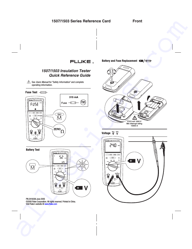 Fluke 1503 Test Equipment Quick reference manual PDF View