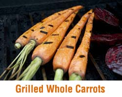 Grilled whole carrots