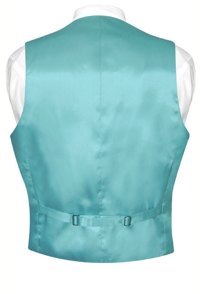 Biagio Mens Silk Dress Vest NeckTie Solid Turquoise Aqua