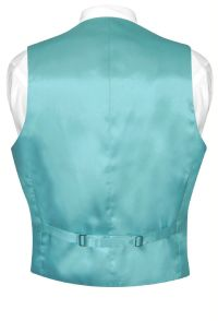 Biagio Mens Silk Dress Vest NeckTie Solid Turquoise Aqua ...