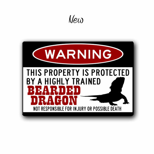 Bearded Dragon gift  Metal Bearded Dragon Warning Sign  Blue Fox Gifts
