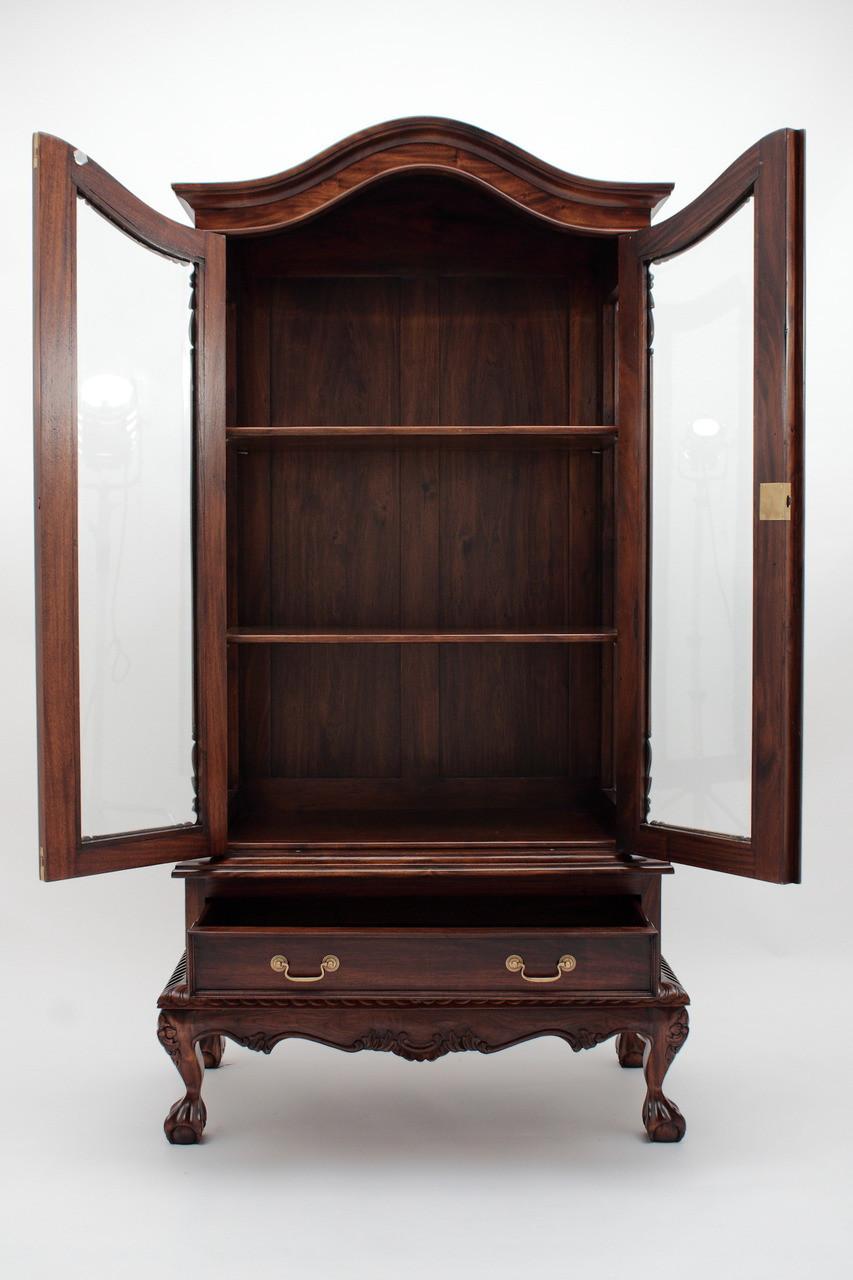 king sofa beds grey black rug chippendale china cabinet - handmade mahogany wood curios ...
