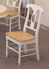 2 White Napoleon Wood Kitchen Chairs w/ Natural Finish Seat