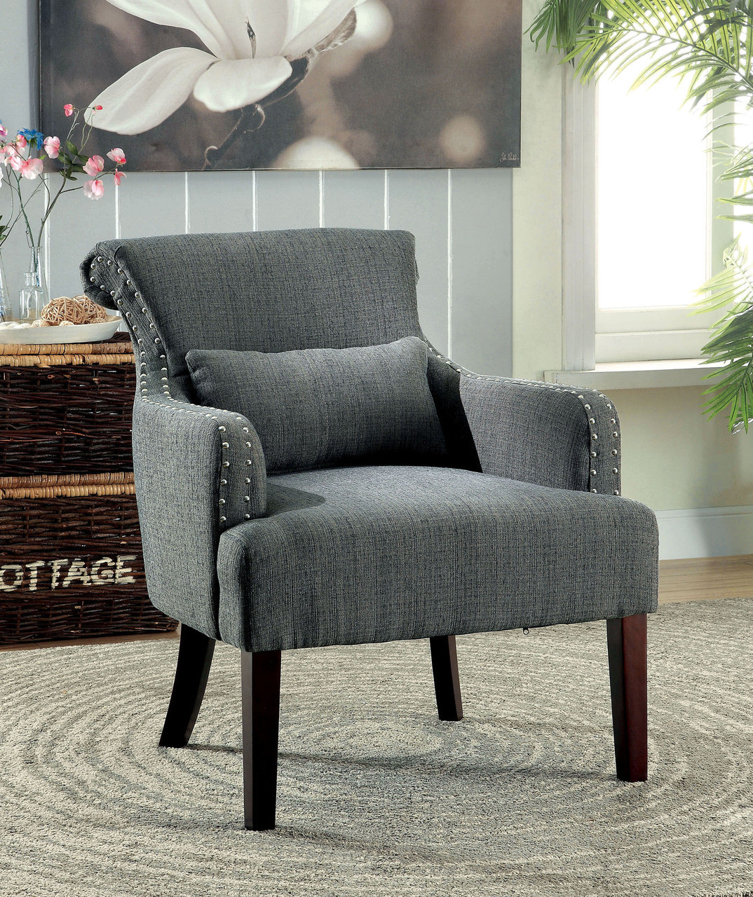 Grey Accent Chairs Agalva Gray Fabric Accent Chair