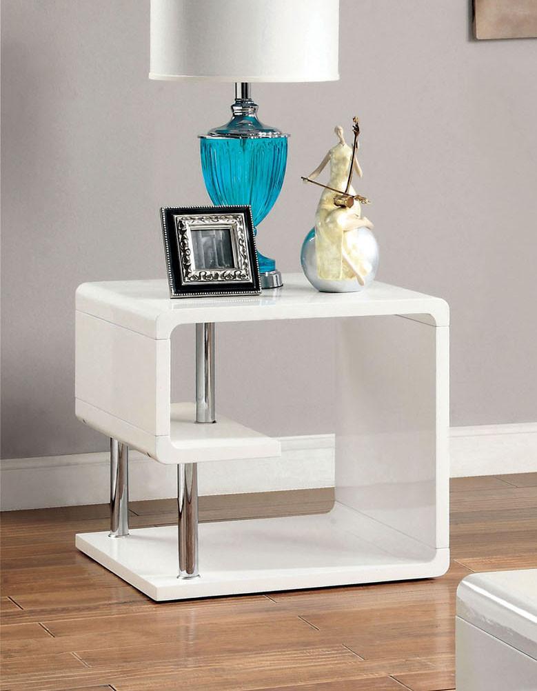 Valentia White Gloss Chrome End Table