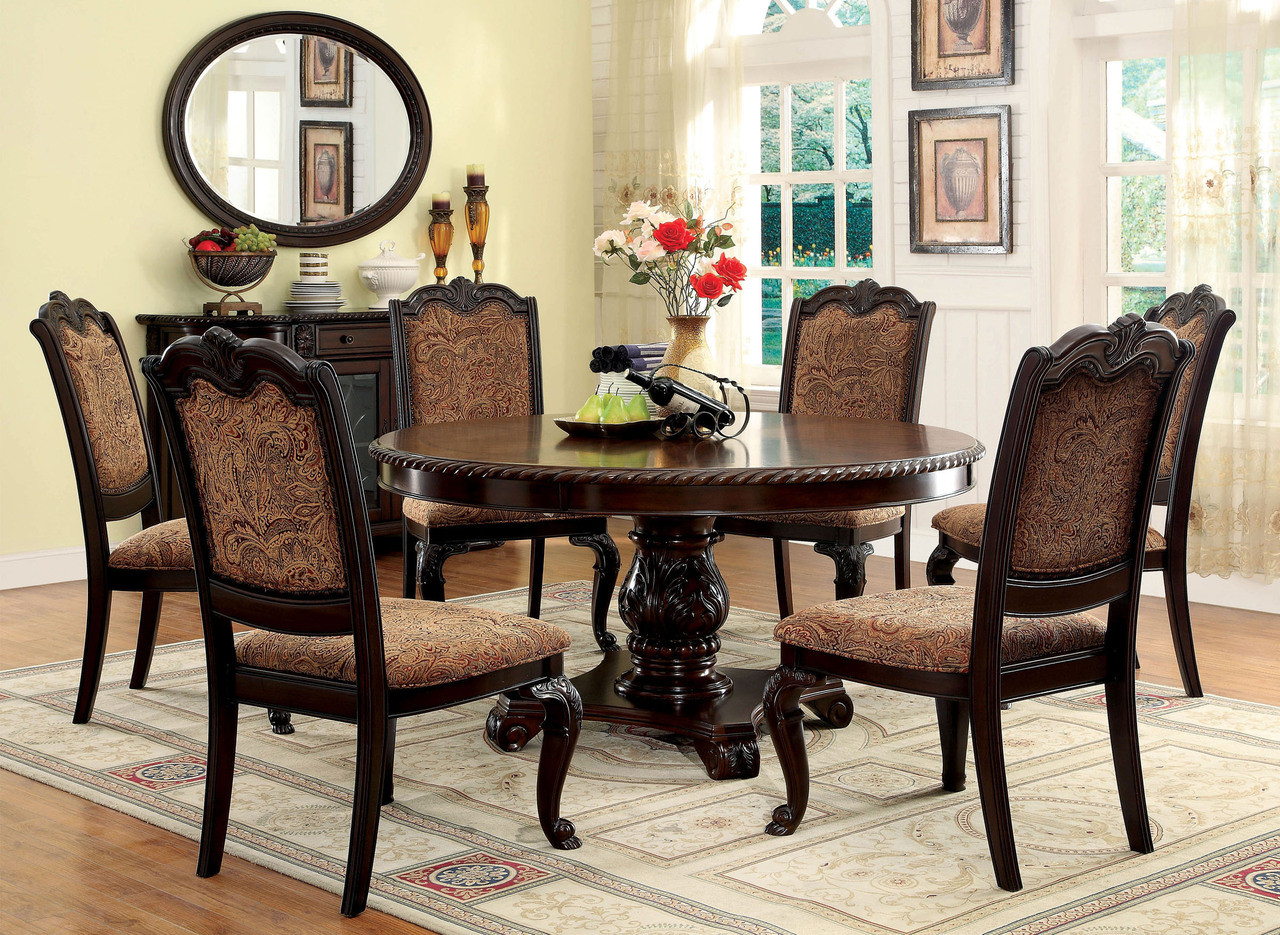60 Bellagio Brown Cherry Round Dining Table Set  Seating