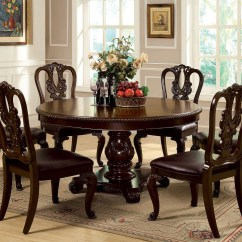 See Through Dining Chairs Babies R Us Vibrating Chair 60 Quot Bellagio Brown Cherry Round Table Set Seating