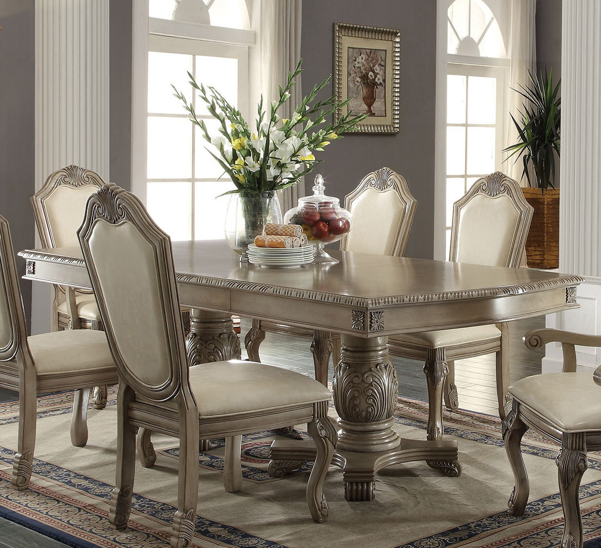Antique White Pedestal Dining Table