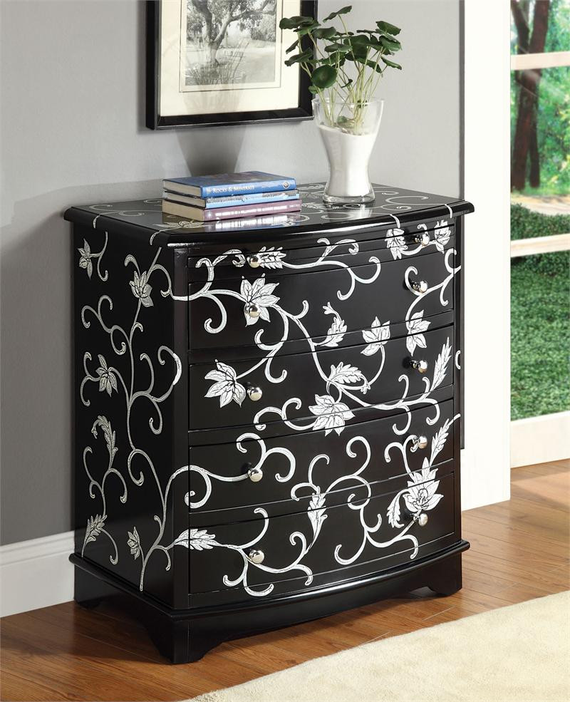 Entryway Chest | Black Hallway Bombe Chest | Accent Chest
