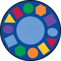 Learning Carpets Geometric Shapes Cut Pile Rug - Round ...