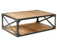 "Industrial Metal and Wood Coffee 51"" Table 