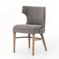 Gray Dining Chair Ball Chairs Task Dark Nailhead Wing Zin Home