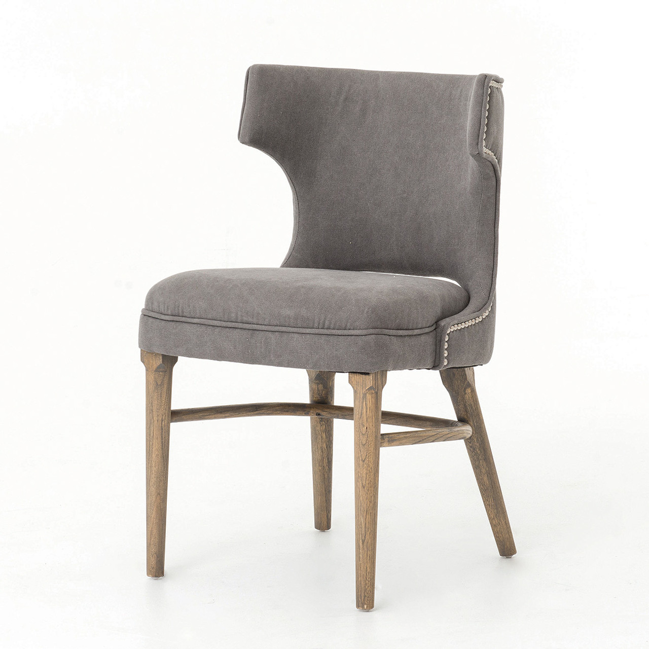 dark gray chair upholstered accent chairs with arms task nailhead wing dining zin home