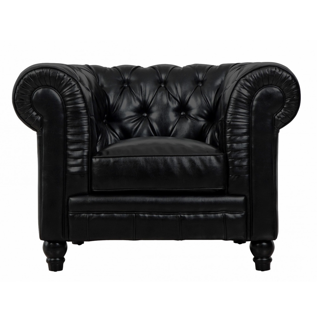 Leather Chesterfield Chair Zahara Black Leather Chesterfield Club Chair Zin Home