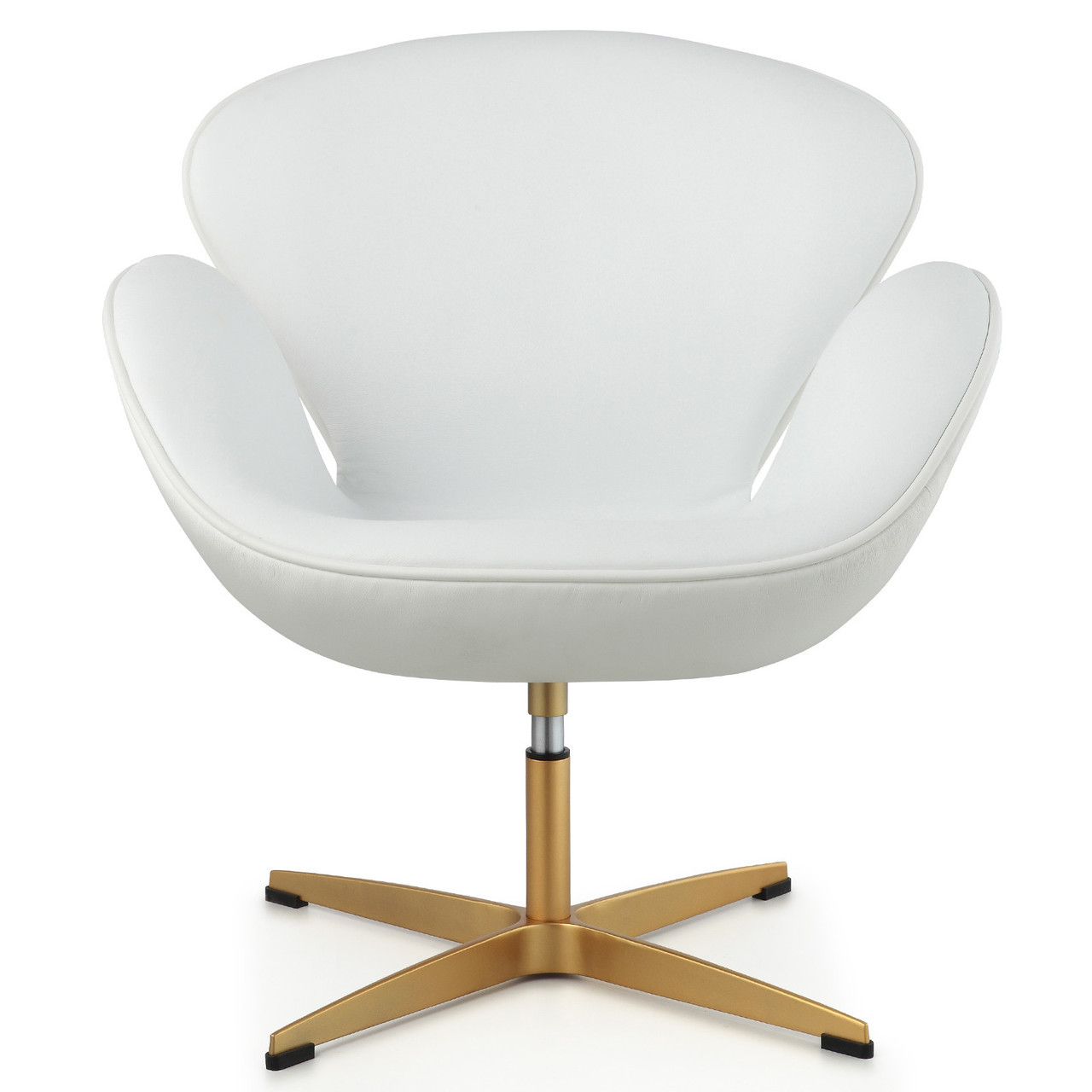 White Leather Egg Chair Gold 43 White Italian Leather M353 Modern Swan Chair Zin Home