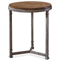 Maison Industrial Metal Leg + Wood Round Side Table | Zin Home
