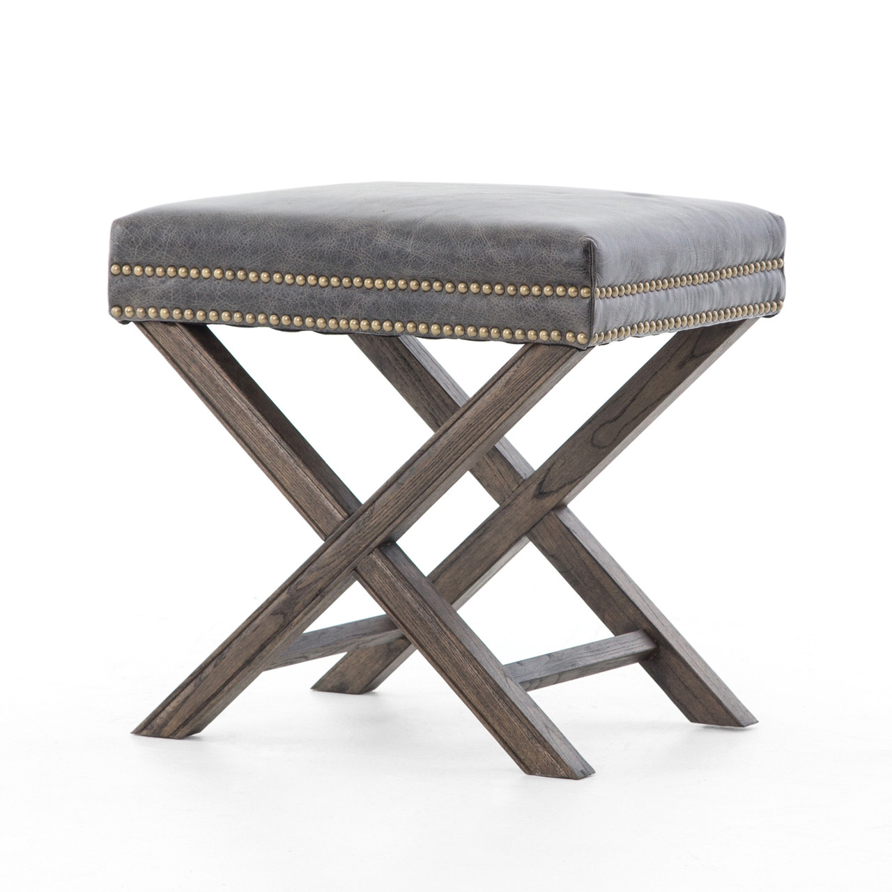 X Chair French Modern X Base Leather Stool Ottoman Zin Home