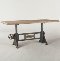 Steampunk Industrial Steel + Wood Crank Dining Table 72 ...