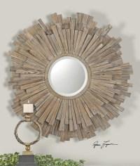 Vermundo Rustic Driftwood Round Wall Mirror | Zin Home