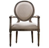 Louis Vintage Round Dining Arm Chair- Linen | Zin Home