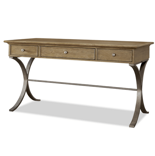 French Modern Wood  Metal Writing Desk with Drawers  Zin