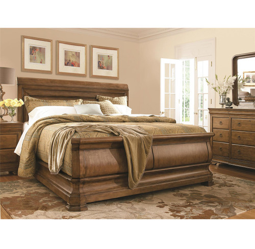 louis philippe solid wood queen sleigh bed - cognac | zin home