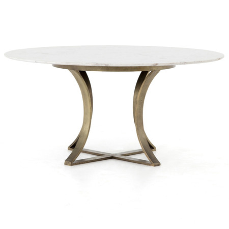 Gage White Marble Amp Antique Brass Leg Round Dining Table