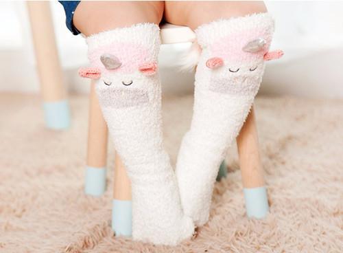 Fuzzy Unicorn KneeHigh Socks for Baby