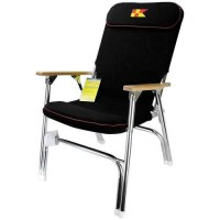 Garelick Padded Folding Boat Deck Chair, Black