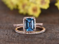 1.4 carat Emerald Cut London Blue Topaz Wedding Set 14k ...