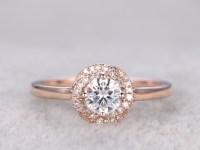 Moissanite diamond engagement rings Rose Gold 14k/18k 0.5 ...