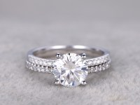 2 Carat Moissanite Engagement Ring Set Diamond Wedding