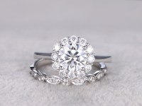 Moissanite engagement ring set Diamond Wedding Bands Round