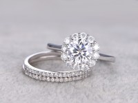 3pcs Moissanite Wedding Ring Set Diamond Matching Band