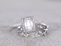 2pcs Radiant Cut Moissanite Engagement Rings Sets Diamond